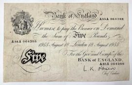 Bank of England White £5 note with pre-fix A55A dated 18/8/55 - some creasing. Condition: please