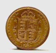 Great Britain Gold Half Sovereign 1887 Queen Victoria Shield Jubilee head UNC Condition: please