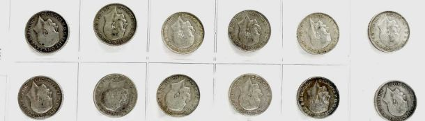 Great Britain King George V 2/- 1911-19 period (pre 1920 silver) - Select examples (x12) Comprising: