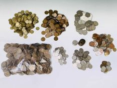Great Britain pre decimal coinage A box containing a large quantity of all denominations from 1/2d