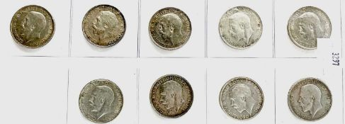 Great Britain King George V 2/1- 1911-1919 period (pre 1920 silver) - Select examples (x9)