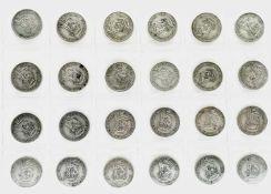 Great Britain 1/- King George V 1927-1936 period (pre 1947 silver). (x24) Comprising 24 in circa F