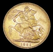 Great Britain Gold Sovereign 1885 EF Melbourne mint mark apparent . George & Dragon Note: