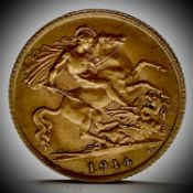 Great Britain Gold Half Sovereign 1914 King George V Condition: please request a condition report if