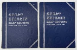 G.B. Halfcrowns 1911 - 1967. Complete run contained in 2 Whitmans Folders. Mixed grades but many