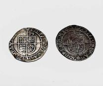 Elizabeth I, Sixpences x 2. 1578 F, quite good details but scratch to face; 1579 F, trimmed.