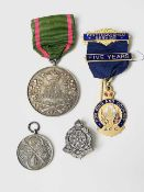 """Military and other Medals and Badges. A hallmarked silver Army Rifle Association medal, an A.C.C. """""""
