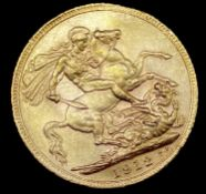Great Britain Gold Sovereign 1912 slight EK George V Condition: please request a condition report if