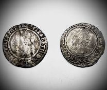 Elizabeth I, Sixpences x 2. 1564 worn but legible, 1565 worn and creased but date legible.