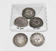 Great Britain Silver 6d William IV (x5) Comprising: 1831, 1834 F, 1834 VF, 1835 VF, 1837. (Total 5