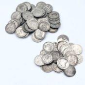 Great Britain Silver 1/- coins (x86) Lot comprises 29 pre 1920 1/- coins - Face value £1.45 PLUS