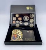 2009 UK Royal Mint (Kew Gardens) including rare 50 pence coin. 12 coin proof set in box of issue.