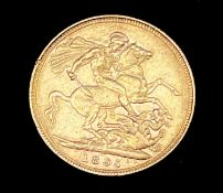 Great Britain Gold Sovereign 1895 Veiled Head Condition: please request a condition report if you