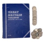 GB Shillings - Whitmans Folder 1902-36. Incomplete plus a few extra coins including 4 earlier George