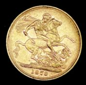 Great Britain Gold Sovereign 1879 George & Dragon Melbourne mint mark. Note: Melbourne mint mark