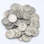 Great Britain King George VI 2/- 1937-1946 Pre 1947 silver (x48) A selection in circa F+ or VF grade