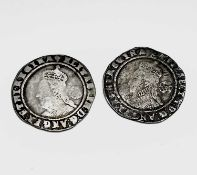 Elizabeth I, Sixpences x 2 1573 worn; 1574 worn, slight creasing. Condition: please request a