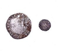 G.B. Hammered Coins x 2. Henry VIII Penny, Durham, TD beside shield MM Star, plus James I