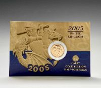 Great Britain Gold Half Sovereign 2005 Queen Elizabeth II featuring new portrayal of George & Dragon