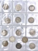 Great Britain Silver 6d Queen Victoria - 1887. Jubilee Heads (x14) Comprising: wreath reverse (