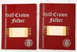 G.B. Halfcrowns 1895 - 1967. 2 red coin folders containing complete runs excluding 1905. Mixed