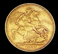 Great Britain Gold Sovereign 1880 George & Dragon Additional Information: Melbourne mint mark is