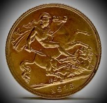 Great Britain Gold Half Sovereign 1915 King George V A.UNC Condition: please request a condition