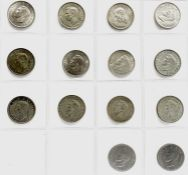 Great Britain King George VI Halfcrowns Silver etc - Select examples (x14) Comprising pre 1947