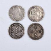Great Britain1/- William III (x4) Comprising: 1696: 1st Bust F-NVF (x1), F (x1); 1697 B (Bristol)