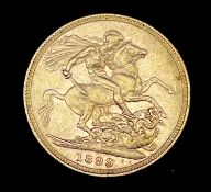 Great Britain Gold Sovereign 1899 Veiled Head. Melbourne Mint mark. Condition: please request a