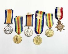 First World War Medals x 6. Comprising: WW1 pair to Private J.D. Franklin ASC; 1914/15 Star and