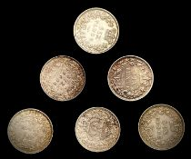 Great Britain Silver 6d Queen Victoria - Select examples 1883-87 (x6). 1883, 1884, 1885, 1886. All