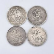 Crowns, George III & George IV 1819 (x2), 1821 (x2). Only in F but collectable condition. Condition: