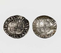 Elizabeth I, Sixpences x 2. 1591 F, slight creasing; 1592 F. Condition: please request a condition