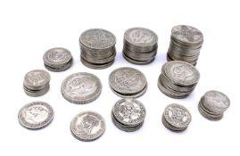 Great Britain - Silver Pre 1947 coinage. Face value £7.07 1/2 Condition: please request a