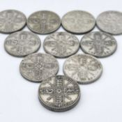 Great Britain King George V 2/- 1920-1926 period (pre 1947 silver) - Select examples (x11)