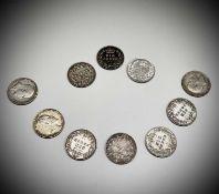 Great Britain Silver 6d King Edward VII 1902 - 1910 (x10). 1902, 1903, 1904, 1905, 1906, 1909 (