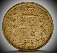 Great Britain Gold Sovereign 1849 Queen Victoria Shield Back low mintage Condition: please request a