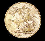 Great Britain Gold Sovereign 1885 EF+ No Sydney or Melbourne mint mark apparent. George & Dragon.