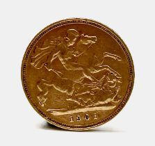 Great Britain Gold Half Sovereign 1901 Queen Victoria Veiled head Condition: please request a