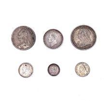 Great Britain etc, silver coins Lot comprises Queen Victoria Crown x 2 (1889, 1893), a Halfcrown (