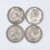 Great Britain George IV Halfcrown (x4) Comprising 1825 VF+, 1826 VF+, 1828 nVF (only 49,890 minted),