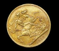 Great Britain Gold Sovereign 1912 George V. Sydney Mint mark Condition: please request a condition