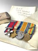 Miniature Medal Group and Silver Inscribed Snuff Box. Lot consists of D.S.O. World War 1914-15
