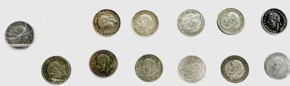 Great Britain Silver 6d King George V 6 Acorn Variety - Select Examples (x12). Comprising RARE