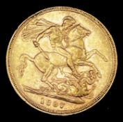 Great Britain Gold Sovereign 1887 Melbourne mint mark apparent. Young head. George & Dragon Note: