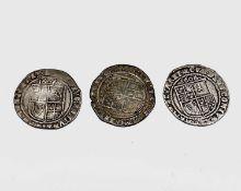 James I, Sixpences x 3. 1606 F, m.m Escallop; 1606 F, m.m possibly Rose; 1622 F, m.m Rose.
