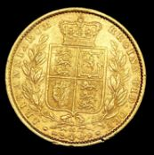 Great Britain Gold Sovereign 1864 Die no.65 Shield Bank Condition: please request a condition report