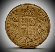 Great Britain Gold Sovereign 1865 Die no.23 Shield Back low mintage Condition: please request a