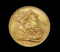 Great Britain Gold Sovereign 1918 (mark to left of date) George V. I (Bombay Mint mark) Condition:
